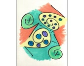 Peach, Yellow, Teal, Green, Purple & Blue 9x12 Original Watercolor and Marker Creation