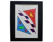 Blue, Orange, Red, Green, Purple, Yellow & Pink Original 9x12 Watercolor Painting