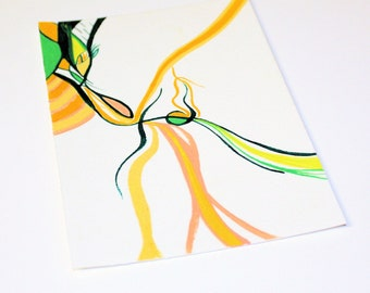 Dark & Emerald Green, Peach, Ochre, Yellow Original Watercolor Painting: HARK