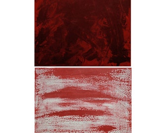 Warm Red & Scarlet Painting for Autumn Abstract Art Set of Two - Free Shipping