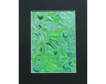 Green, Teal, Cream & Olive 8x10 Abstract Acrylic Painting