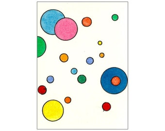Pink, Blue, Orange, Yellow & Red Multicolored Circles - Original Tori Amos Inspired ACEO Watercolor