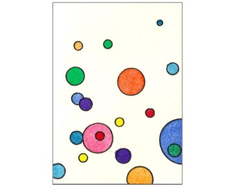 Pink, Blue, Red, Purple, Orange & Yellow Multicolored Circles - Original Watercolor ACEO Painting Inspired by Tori Amos