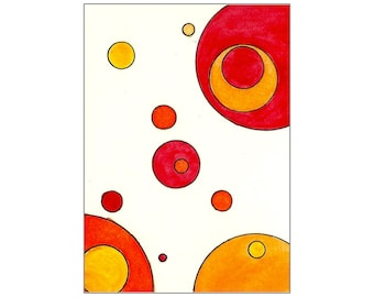 Red, Orange & Yellow Circles - Original Watercolor ACEO Art Painting Inspired by Tori Amos