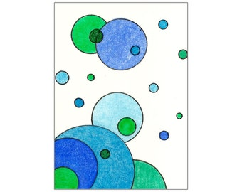 Original ACEO Watercolor Painting Inspired by Tori Amos - Cerulean Blue & Emerald Green Circles