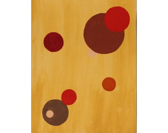 Geometric Circles: Red, Brown & Orange Original Gouache 9x12 Painting - Free Shipping