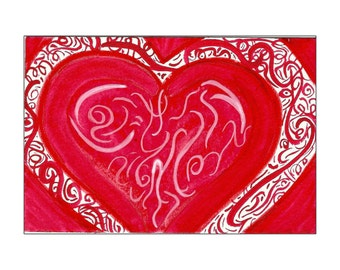 Red & White Swirling Heart 4x6 Original Watercolor Painting