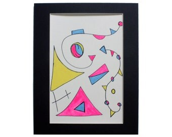 Neon Pink, Cornflower Blue & Yellow Original 9x12 Watercolor Painting