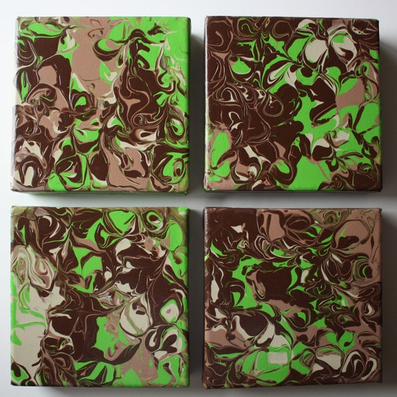 Green & Brown Abstract Acrylic Paintings - Set of Four