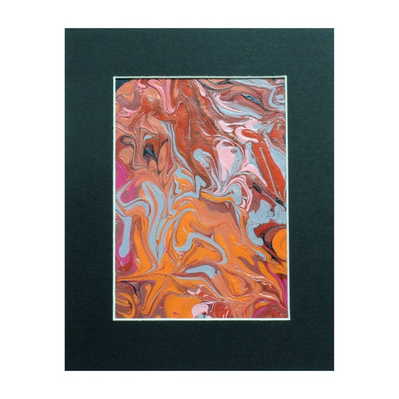 Red, Orange, Blue, Mauve, Magenta & Pink 8x10 Abstract Acrylic Painting - Free Shipping