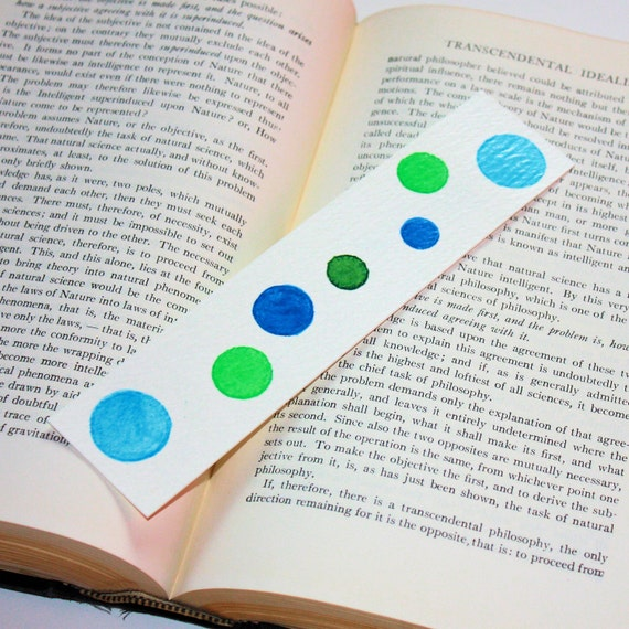 Shades of Blue & Green Watercolor Bookmark - Hand Painted Art - Free Shipping