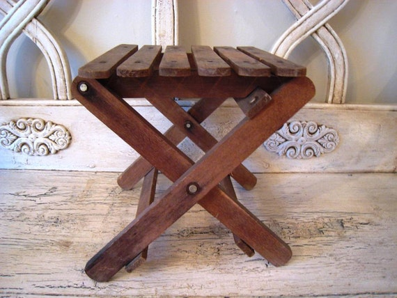 Vintage Folding Wooden Stool Plant Stand By