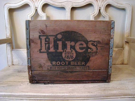 Rustic Wooden Advertising Crate - Hires Root Beer