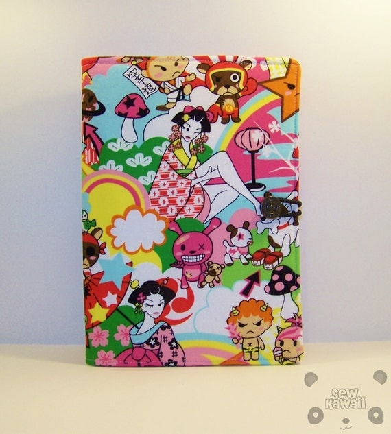 Kindle Fire Cover, Kindle Touch, Kindle 3, Nook, Nook Touch, Kobo Cover Padded Book-Style eReader Case: Kawaii Geishas Tokidoki ANY eREADER