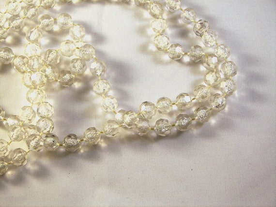 Vintage Long Clear Faux Crystal Bead Necklace