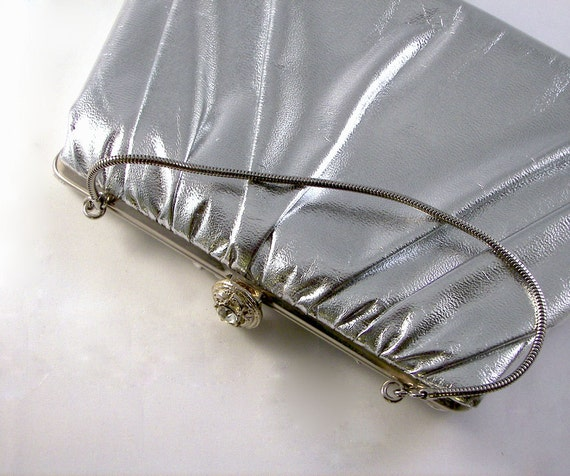 Vintage 1960's Shiny Silver Purse with Rhinestone Clasp