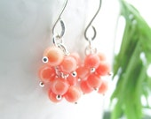 coral cluster earrings - LAST PAIR - coral, sterling silver