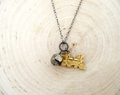 john henry necklace - brass train locomotive charm, faceted pyrite nugget