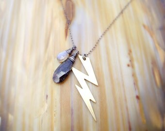 shelter from the storm necklace - brass lightning charm, fiery blue labradorite, black rutilated quartz