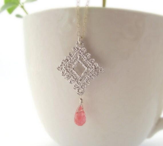 SALE - lace necklace - cherry quartz, sterling silver