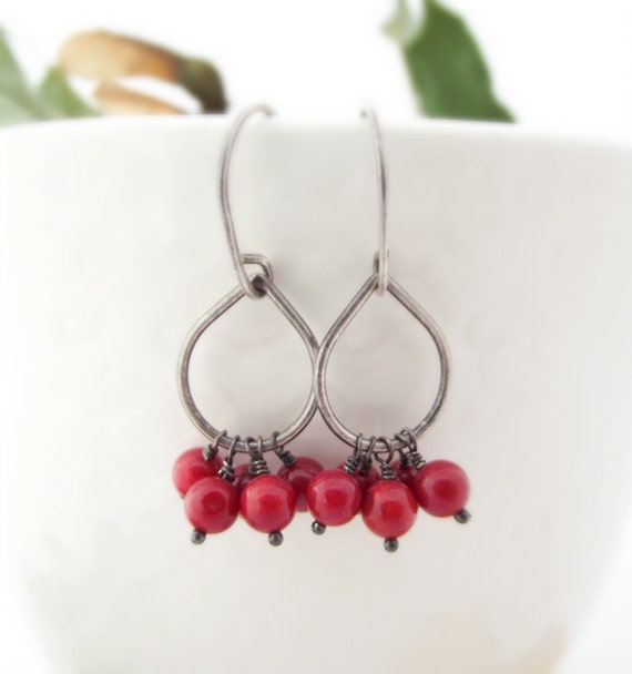 earrings - red coral, oxidized sterling silver