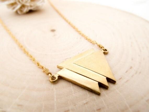 art deco necklace - vintage brass