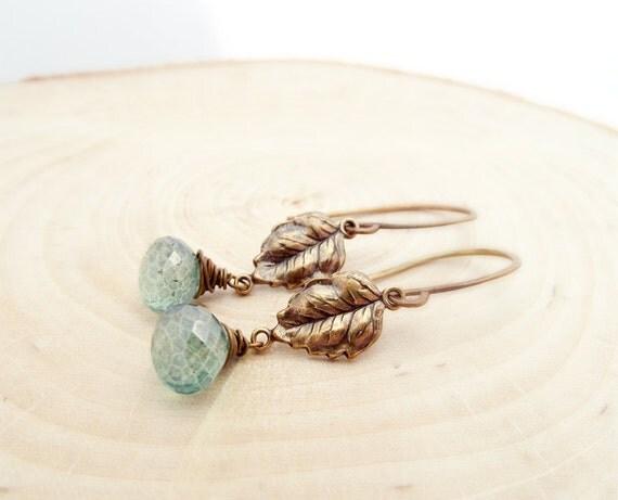 diana earrings - green mystic quartz, brass leaf charms, oxidized brass ear wires
