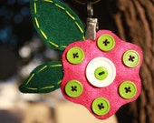 Button Flower, eco-felt, pin and clip back, hair and clothing accessory, ready to ship, OOAK P012