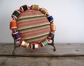 Vintage Pin Cushion with Multi Color Thread - Vintage Cushion, Sewing, Supply, Pink, Retro