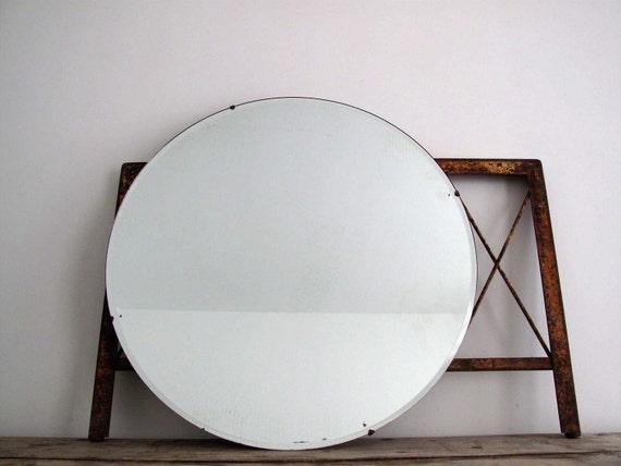 Vintage Wall Mirror Round Beveled Frameless By Snapshotvintage