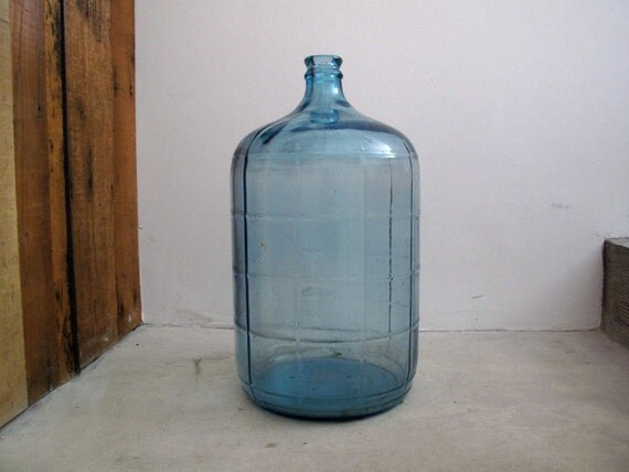 Vintage Water Jug - 5 Gallon Bottle, Glass, Floor Vase, Industrial, Minimalist, Blue