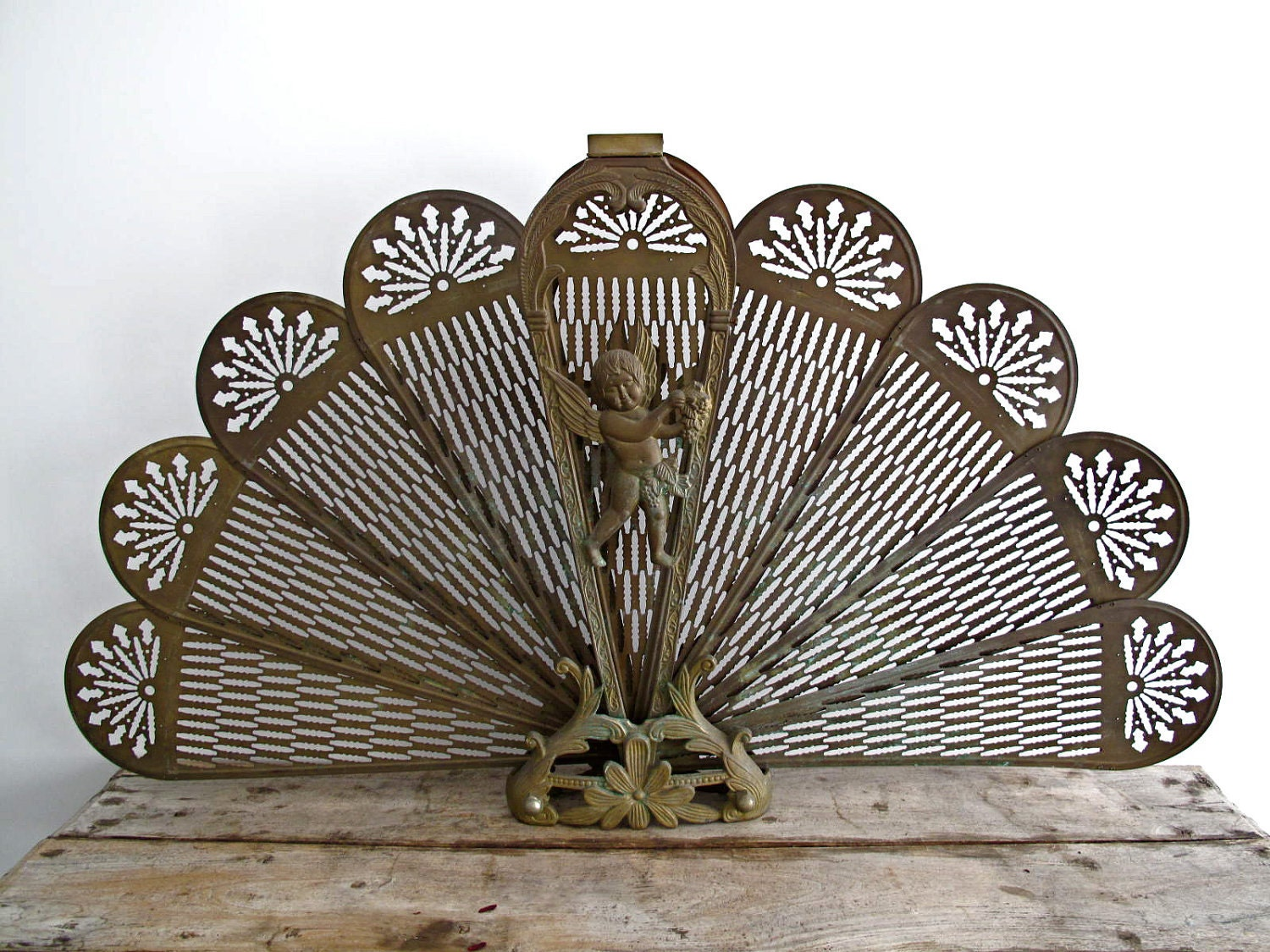 reserved vintage screen antique fireplace by