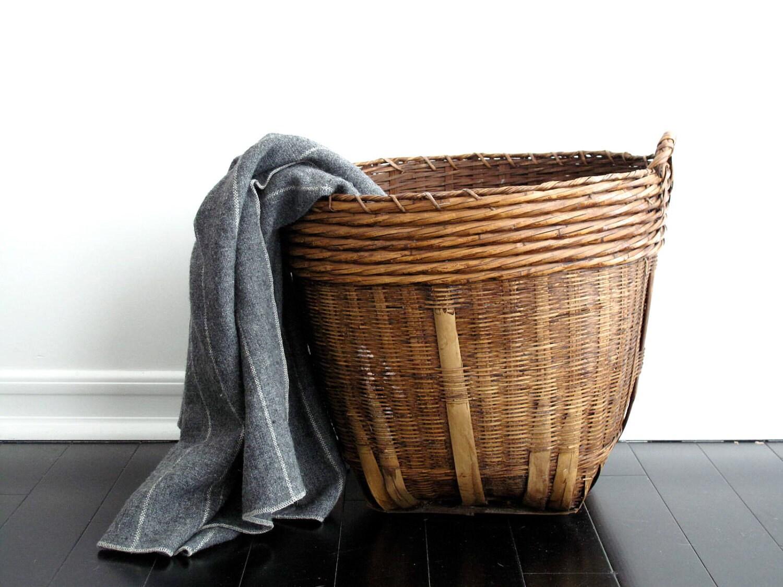 large woven basket vintage basket with handles by snapshotvintage. Black Bedroom Furniture Sets. Home Design Ideas