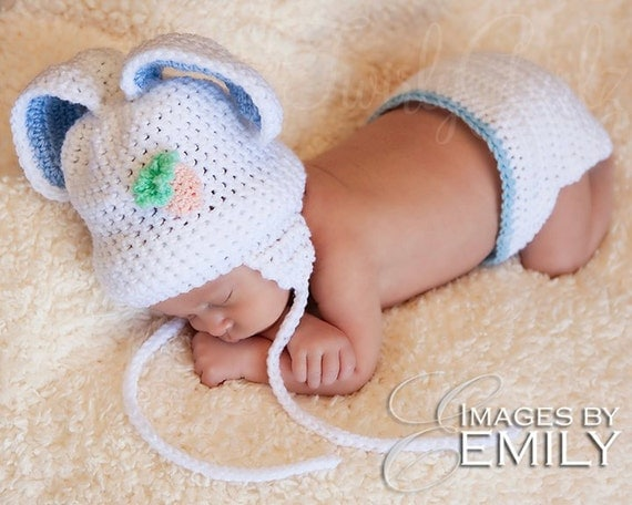 Baby Set - White Bunny Hat with Earflaps and Diaper Cover for baby boy (fits newborn to toddler)