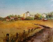 "Golden Fields, 11x14""  original watercolor landscape"