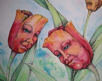 "Tulips, 18x24"" original watercolor"