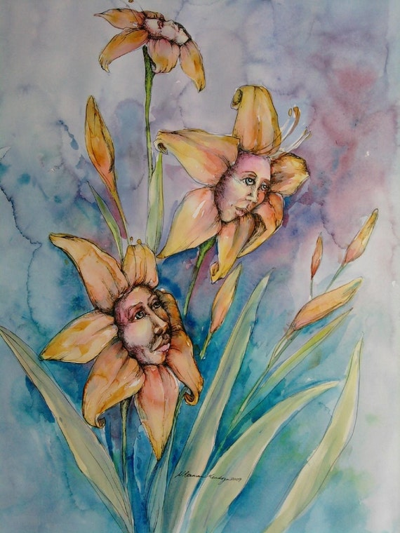 "Day Lilies 18x24"" original watercolor"