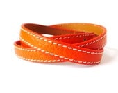 Multi Wrapped Orange Leather Bracelet