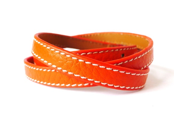 Multi Wrapped Orange Leather Bracelet