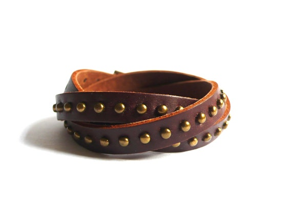 Dark Brown Leather Bracelet With Copper Rivets