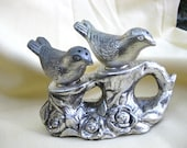 Vintage Salt and Pepper Silver Birds on Tree Stump Shabby Chic