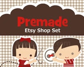 Etsy Premade Shop  Set - Premium Package-  featuring Sewing Kids Etsy banner