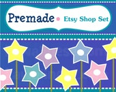Premade Etsy Shop Starter Set  - Basic Package - Featuring Starry Flowers 1