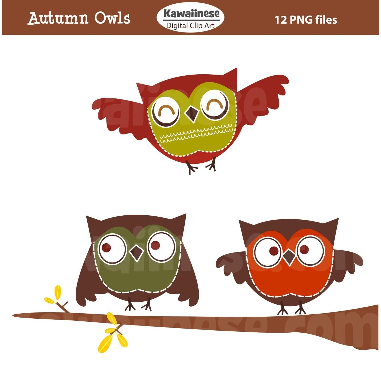 Items similar to Owl Clip Art Autumn Owls - Cute Digital ...