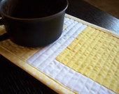 Yellow and White Quilted Patchwork Mug Rug