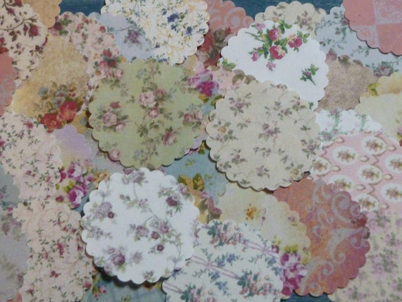 Dollhouse Miniature Shabby Chic Paper Doilies set of 36 All Roses