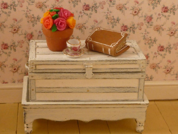 Shabby Chic Country Trunk/Chest on Stand for Dollhouse