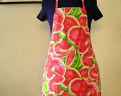Reversible Watermelon/Gingham Kitchen Apron