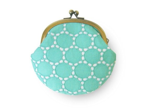 Turquoise Circle Lace Coin Purse