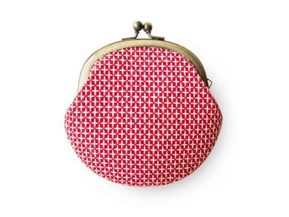 Cross Embroidered Happy Red Coin Purse